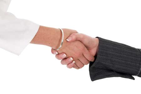 pardon: Firm female handshake