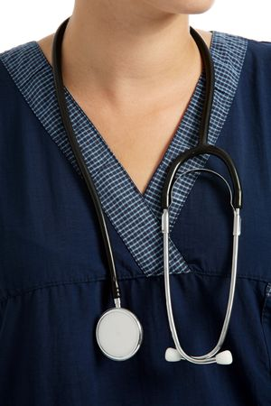 Stethoscope hanging around a female nurses neck Stock Photo - 705151