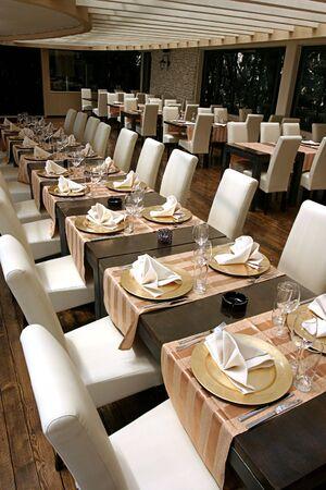 Empty interior of a stylish beach restaurant