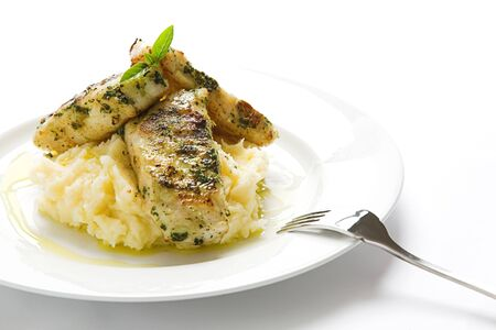 Basil topped fish over mash 4