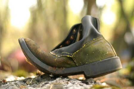 Trashed old shoe sitting on a rock in the field Stock Photo - 877493