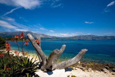 Beautiful seascape taken of the coast of the island Korcula, Croatia Stock Photo