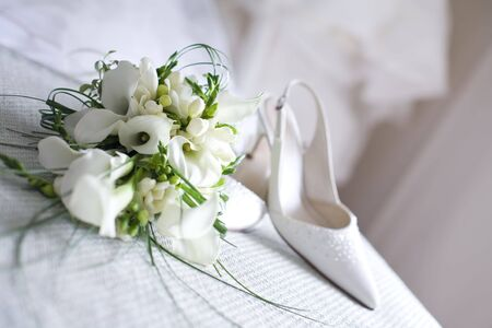 Wedding shoes and flowers Stock Photo - 6544075