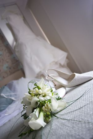 Wedding shoes and flowers Stock Photo - 6544050