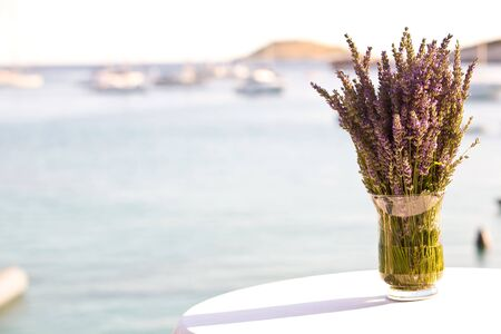 Lavender in a vase with the sea in the background photo