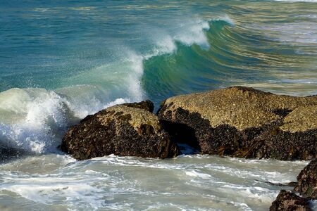 crashing: Wave in the atlantic breaking over a rock filled with mussels. Stock Photo