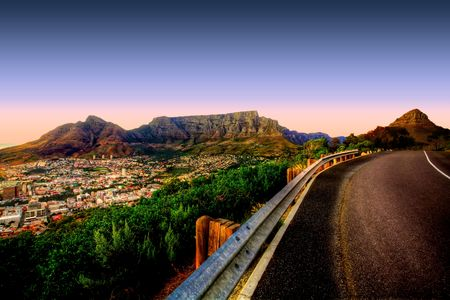 africa sunset: Beautiful view of Table Mountain in Cape Town from Signal Hill.
