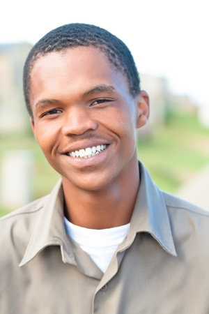Friendly young black african male close up. Stock Photo
