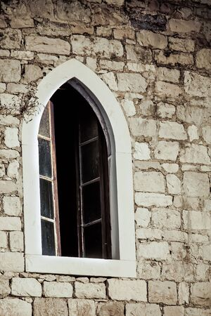 vignetting: Church window which makes nice vignetting. Stock Photo