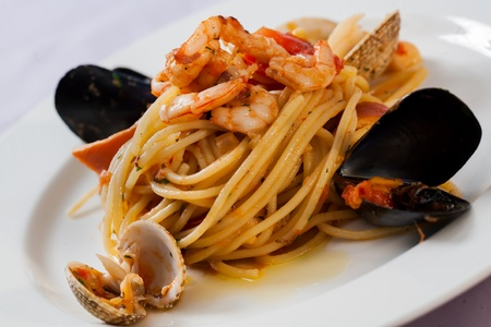 Prawns salad served with noodles, mussles and sauce Stock Photo - 14021929