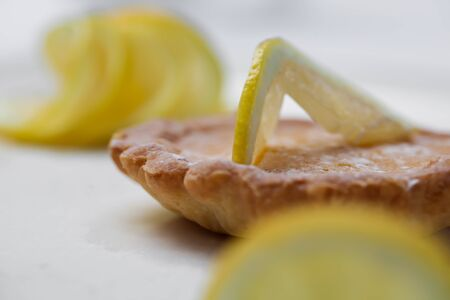 Lemin biscuit with a filling inside of the cookie and lemons on top  Stock Photo - 14021952