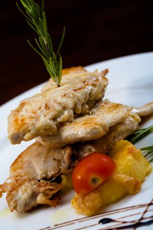 Three layers of chicken with pineapple and tomatoes. Stock Photo - 14104005