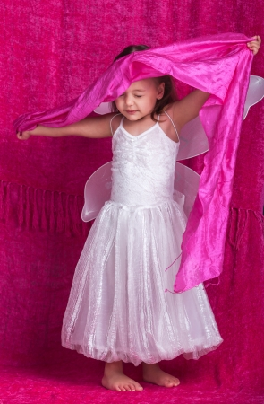 petti: Beautiful little white fairy with pink linen