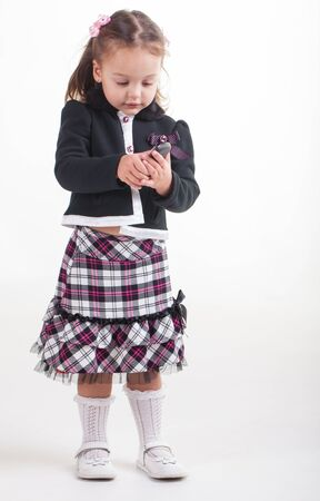sunday school: I got my school clothes! Its tight, its warm and uncomfortable! Stock Photo