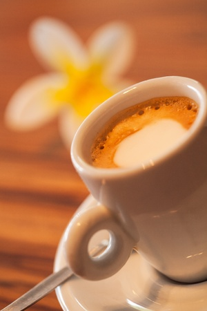Frangipani and coffee with a bit of foam on top. photo
