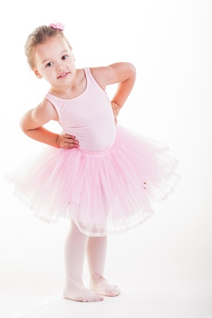 The little ballerina getting ready for class. Stock Photo