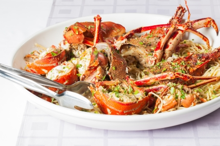 salad decoration: Crayfish and  spicy noodles in a bowl. Stock Photo