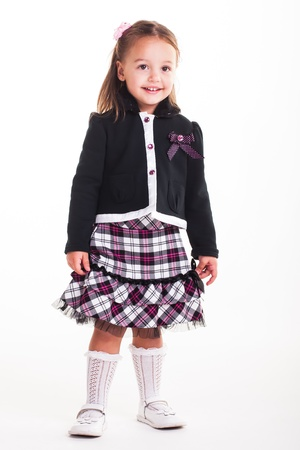 A little girl on her first morning of school. photo