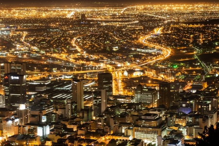 and streetlights: The city that never sleeps , Cape Town. Stock Photo