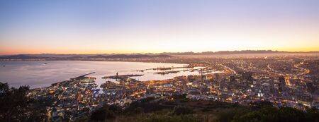 cape town: A beautiful view from the top of Cape Town at night.