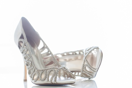 Small diamond shoes for the bride on her special day. photo
