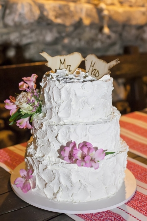 The couple decided on a three layer wedding cake. photo
