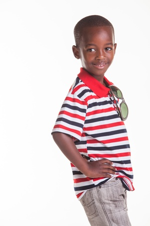 seven persons: Little boy dressed in stripes and denim
