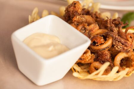 A bowl of calamari with a white sauce. Stock Photo - 17214352