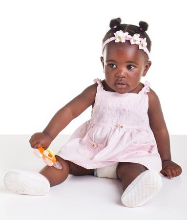 Little Afrikaans meisje worden gefotografeerd in de studio