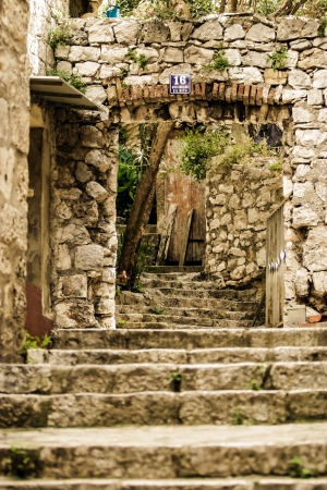 Beautiful rock steps in a street in Croatia. photo