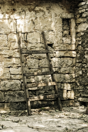 Ladder standing against ancient brick walls. photo