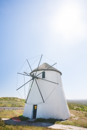 church group: A nature photograph with the white windmill in the centre. Stock Photo