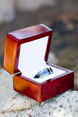 a close-up of the grooms black and silver alluminium wedding ring in a smooth wooden box resting on a rock Standard-Bild