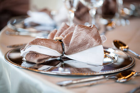 image of a shiny champange and white napkin placed on a silver plate setting