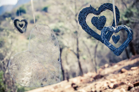 image of various  swinging hearts tied up in the outdoors