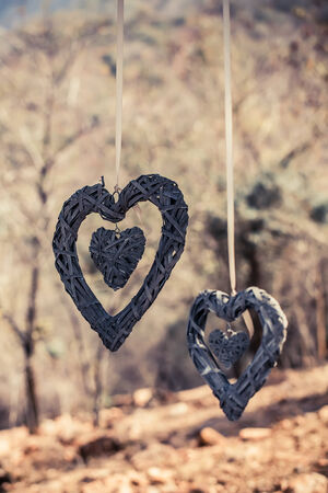 image of two woven wood hearts hanging in the outdoors on ribbon Stock Photo