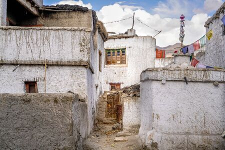 The indian town Thiksey which is build in tibetan style