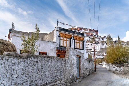The indian town Thiksey which is build in tibetan style Stock Photo