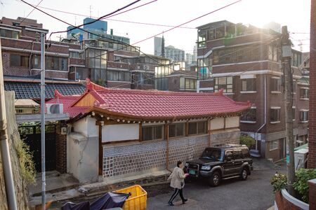 Seoul/South Korea-18.10.2016:The typical view on the Seoul's street