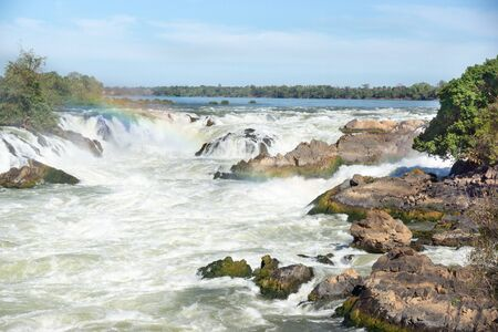 The Mekong waterfall in Laos Banco de Imagens