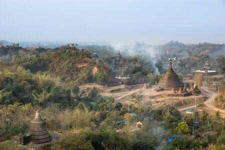 The pagodas in Mrauk-U Myanmar