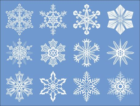 large group of objects: Set of detailed, isolated New Year and Christmas snowflakes illustrations Illustration