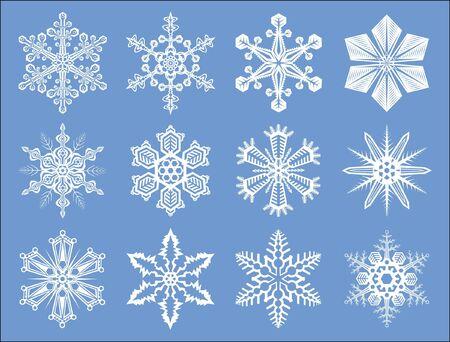 Satz von detaillierte, isolierten Weihnachten und Neujahr Schneeflocken-Abbildungen