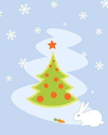 Christmas Tree Card with White Rabbit Vector