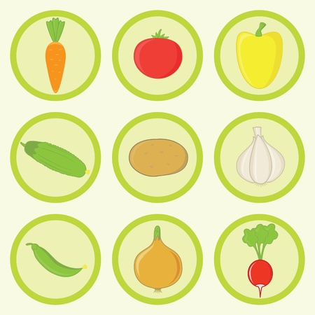 Vegetables Icon Set Most Common Ingredients