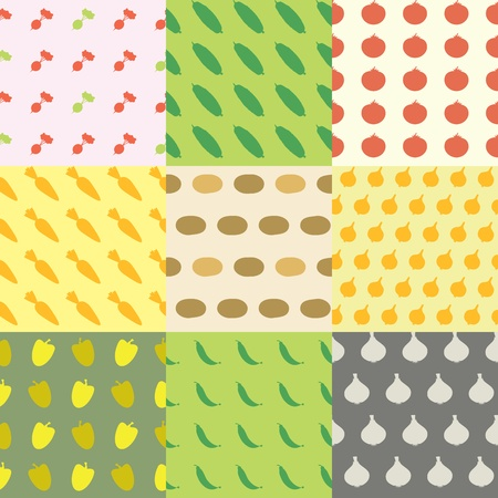 Vegetables Seamless Pattern Background Set With Common Ingredients