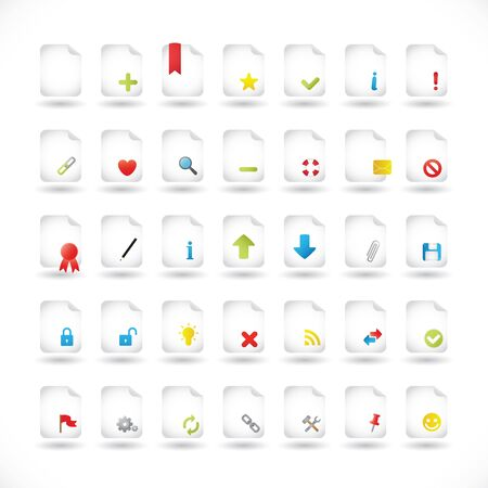 file types: Set of Icons For Different File Types and Actions Illustration