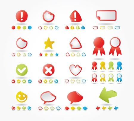 Stickers Set In Various Colors And Shapes Ilustração