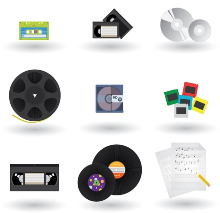 cd recorder: Icons Set of Different Media Formats And Types Illustration