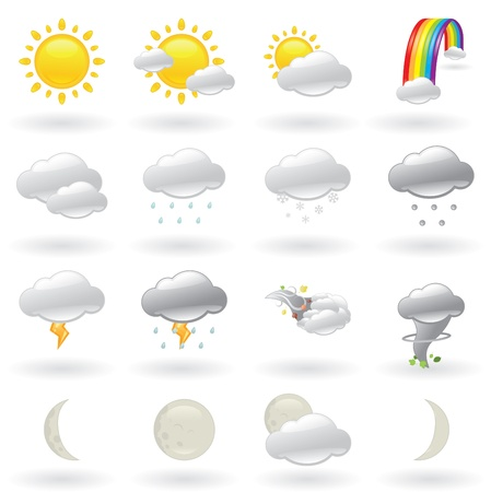 hail: Weather Icons Set Of Natural Phenomenons Illustration